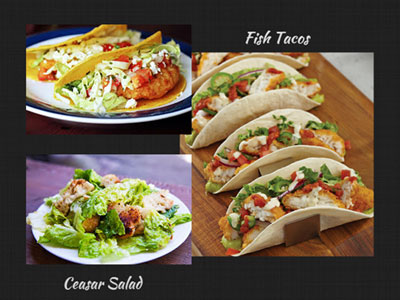 Fish Tacos and Caesars Salad